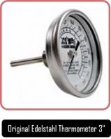 JOEs Smoker Zubehör, Original Edelstahl Thermometer 3 Zoll